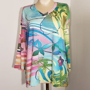 Multiples tropical tee with sequin detail size XL